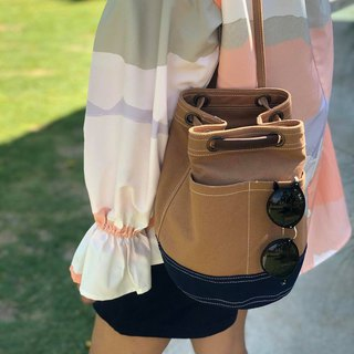 Mini Brown/navy Canvas Bucket Bag with strap /Leather Handles /Daily use