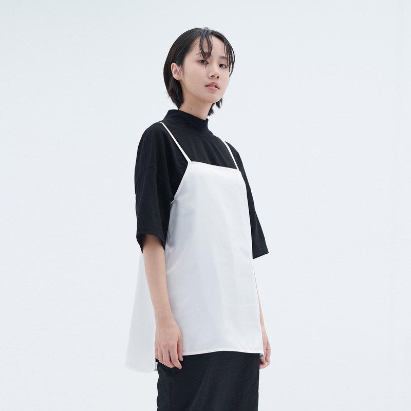 細肩帶剪接衫 - 泉簡約個性外搭造型背心