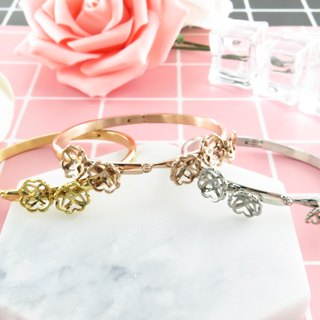 Peony Bangle 316L Stainless Steel Silver/Gold/Rose Gold plated Swarovski Crystals L27B
