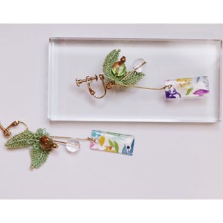 Hand-painted plant specimen earrings series of fruit ear clip / ear pin
