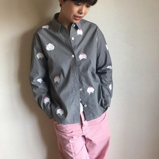 Gingham Check Shirt Black <Peach and Slow Rabbit>