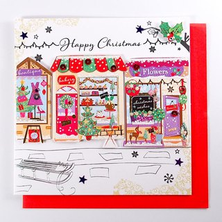 Many small shops shine with Christmas cards at night [Ling Design TP-Card Christmas Series]