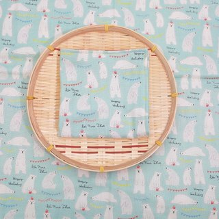 Pu.sozo cloth hand made baby four-fold handkerchief (meng Meng polar bear - blue green) gauze towel
