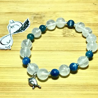 Pure blue bird blue moon crystal apatite kyanite sterling silver accessories lucky elastic bracelet