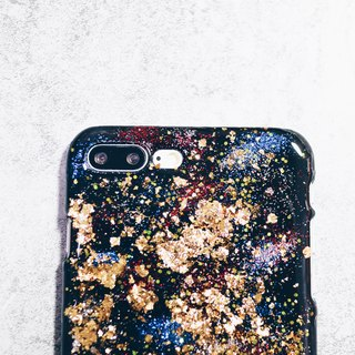 Stardust series ll red dot stardust X retro champagne gold foil ll hand-painted oil painting wind phone shell