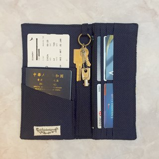 Functional travel wallet with fabric lining. Invisible magnets to close.