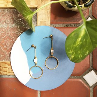 Laolin groceries l forging earrings series white turquoise / green point stone / lapis lazuli hook l ear pin l ear clip