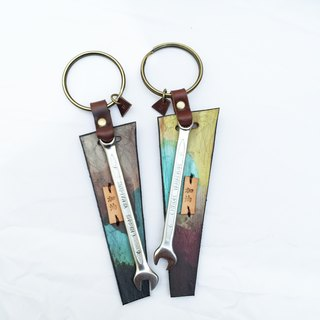 A pair of wrench | leather keychains - No sweat! - Jade / Lime color