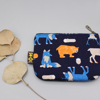 Peaceful little music bag - animal Christmas (no money), double-sided two-color Japanese cotton and linen small wallet