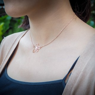 Plain pink gold silver flower necklace