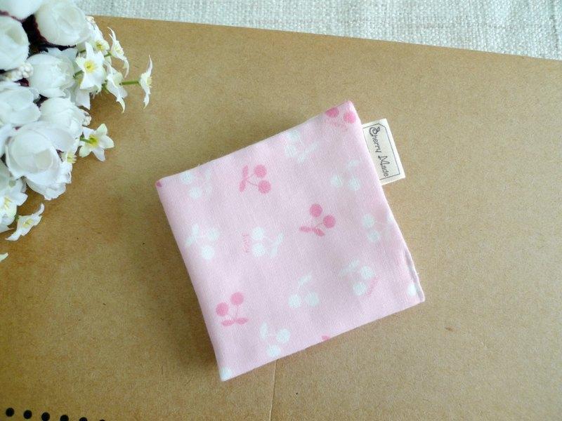 純棉紗布手帕/口水巾/小方巾-cherry 小櫻桃