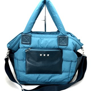 Easy life light nylon cotton dual - use bag (Shouwan Dai / shoulder bag) ---- Marine blue sea blue
