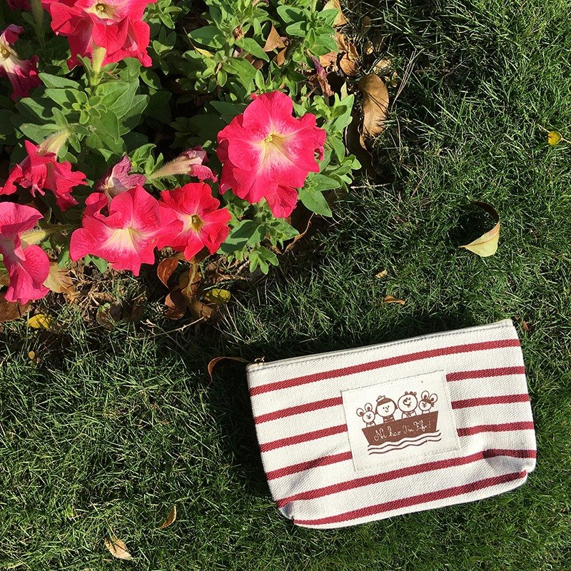 FiFi 棉帆布條紋收納包-紅