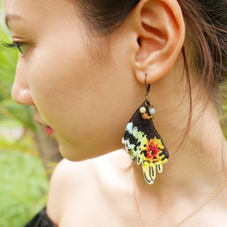 Embroidery Butterfly 'Papilio Tail' Earring /Sunset Moth ( Urania Ripheus )