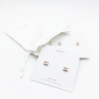 GOODY BAG - RECTANGULAR ROSE QUARTZ EARRINGS & ROUND PEARL EARRINGS (LIMITED)