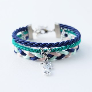 Seahorse wrap bracelet in navy blue / seafoam green / light mint / light brown