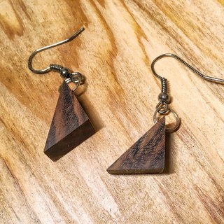Past and present - old wooden drooping triangle earrings