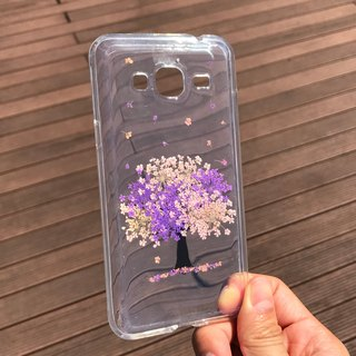 Samsung Galaxy J3 Handmade Pressed Flowers Case Purple Tree case 010
