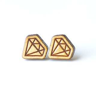 Plain wood earrings-Diamond