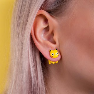 Yellow Cat Earrings - Kawaii Cat Earrings Polymer Clay