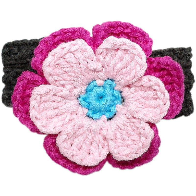 多重瓣甜美粉/玫瑰紅大花 手工針織花朵純棉髮帶Pink/Fuchsia