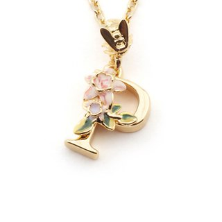 Flower English letter P necklace