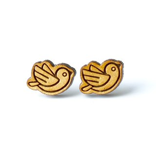 Plain wood earrings-Sunny Bird