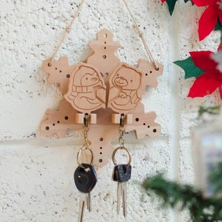 [customized gift] key ring hanging version // Penguin polar bear snowflake house lover new marriage essential