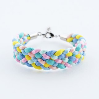 Mint/Pink/Blue/Yellow Braided bracelet
