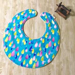 Colored raindrops inside four layers of cotton yarn back towel cloth circle bib pocket