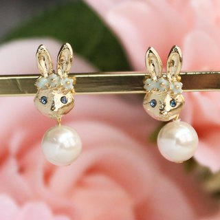 Japanese Handmade Ornaments - Pearl Resurrection Rabbit Earrings