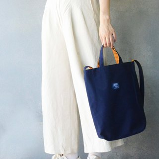 Two-color canvas three-use bag _ dark blue + orange