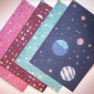 Lonely Planet Wrapping Paper - 2017 Combination Pack - Double Sided A2 - 20 In