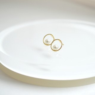 Earrings / k10 Circle pearl Pierce / Mimi环 Chintama 圈 gold 10