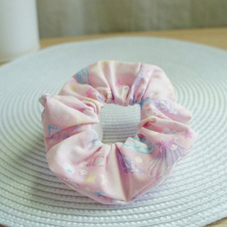 Lovely [Japanese cloth] romantic silver onion shell hair bundle, large intestine ring, donut hair bundle [powder]