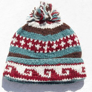 Christmas gift emergency gift exchange gifts limited a hand-woven wool hat / knitted wool cap / inner bristles hand-woven wool cap / wool cap / handmade knitted hat - South American Seaside Wave walking totem