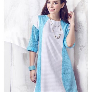 JL JOCELIN six points sleeve print dress - leaf type pattern (blue)
