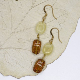Caramel Macchiato handmade glass earrings can change ear clip