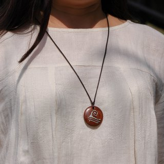 Wooden Water symbol necklace Wood Pendant