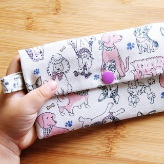 2018 dog to the rich million with a small bag ~ white cotton bag. Purse. Card folder. Wallet. Work identification card