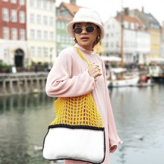 Yellow-White Gradie crochet bag