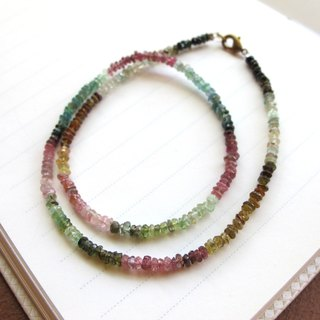 【Together】 Multi-color tourmaline x 925 silver (double-ring bracelet) - Handmade natural stone series