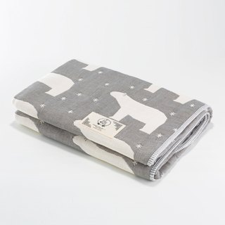 [Made in Japan Sanhe Kapok] Six gauze is thick-Guardian Polar Bear (gray) M