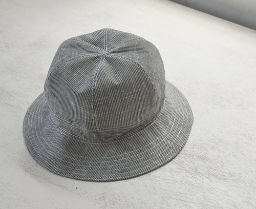 Cotton and linen fisherman hat - stripes, gray, Japanese cloth, handmade