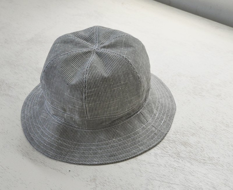 Cotton and fisherman hat - stripes, gray, Japanese cloth, handmade