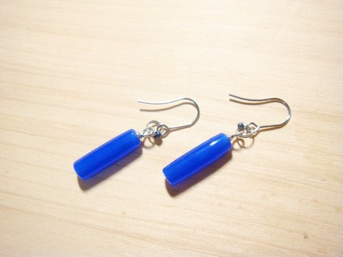 Grapefruit handmade glass - wild glass earrings series - sapphire blue - long cylindrical - (free fare increase folder type)