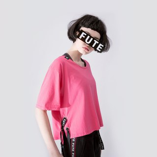 WOMENS LACE UP SIDE ROUND NECK T SHIRT / Hot Pink