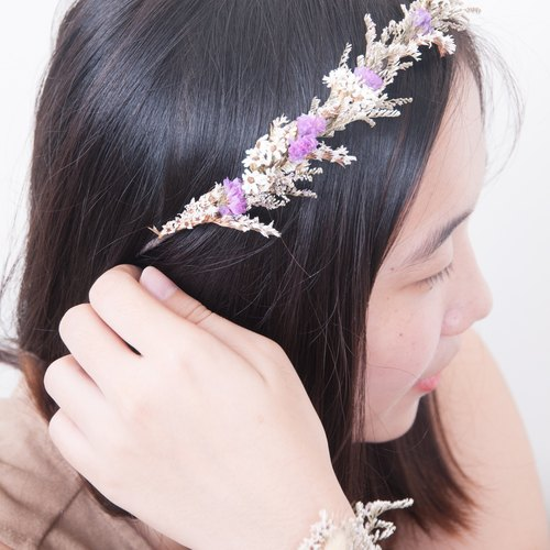 Her Bouquet faint like | dried flower wreath stars wreath of pink French white plum flower crystal