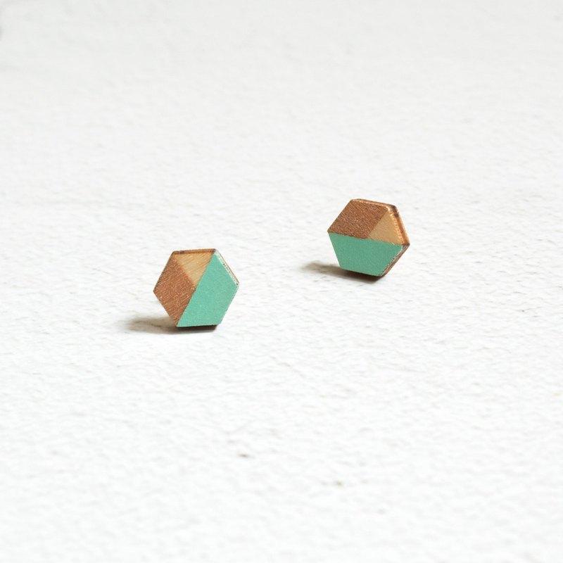 耳環 耳釘 耳夾 木制 鍍金 幾何 手工繪制 六角形 手作 飾物 禮物