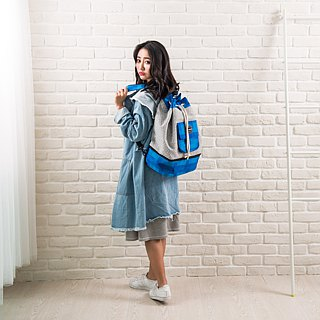 SOLUNA [ Summer Whisper Series ] Drawstring Backpack(Blue)